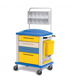 Carrello medicazione standard a 4 cassetti colore Giallo
