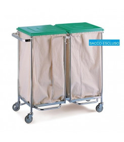 Carrello porta biancheria sporca a due sacchi