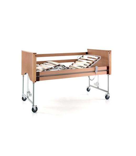 Letto degenza 3 snodi serie AURORA elevabile in altezza con trendelemburg rete e sponde in legno