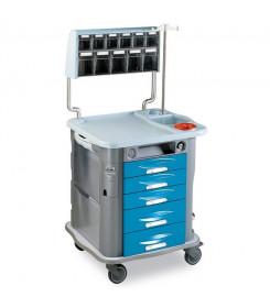 Carrello medicazione modello AURION colore Azzurro 5 cassetti